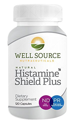 Histamine Shield Plus™ All Natural Antihistamine Supplement, Compare to Natural D-Hist, Histamine Blocker, Works On All Allergy Types. Pollen, Pet Dander, Dust, Mold, and Odor Allergies. 120 Capsules