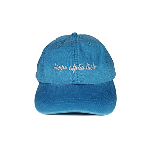 Kappa Alpha Hat (Kappa Alpha Theta Sorority (N) Baseball Hat Cap Cursive Name Font Adjustable Leather Strap (Bright Blue))