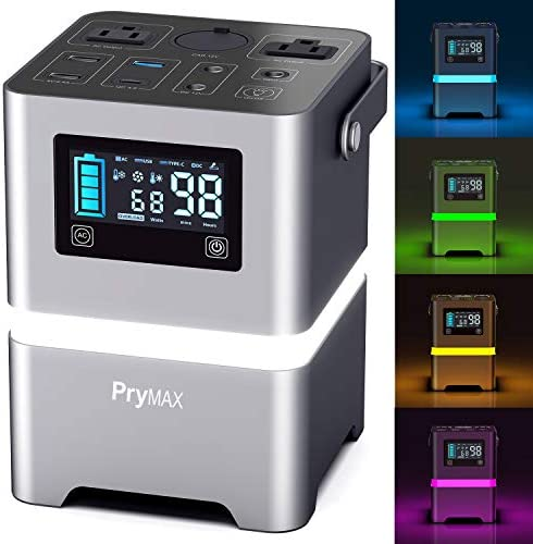 PRYMAX Portable Generator, 231Wh Portable Power Station with Touch-Screen Button Mood Lighting,110V 200W Pure Sine Wave 2 AC Outlets,QC3.0 USB, Solar Generator for Home Use Camping Travel