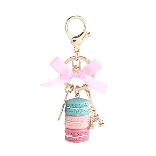GLOGLOW Colorful Cute Alloy Macaroon Keychain, Bag Purse Pendant Macaroon Cake Keyring Car Charm Macaroon Eiffel Tower Keyring(Green) -
