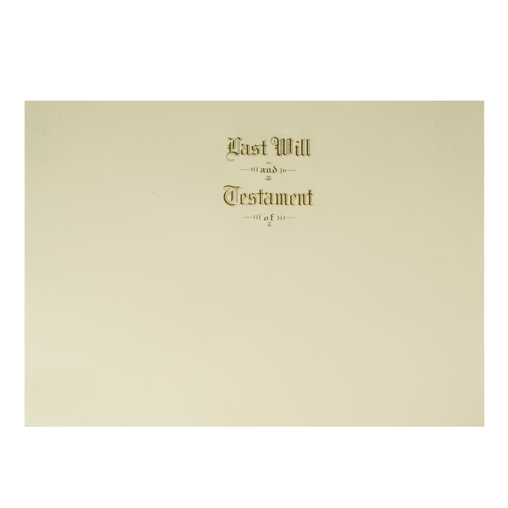 Last Will & Testament Cover Engraved with Gold Ink for Letter Size Paper, 100 per Box by Blumbergs Law Products