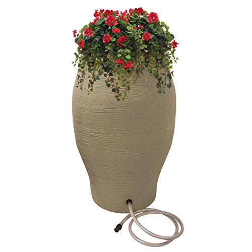 Emsco Group 2233-1 Rescue 50 Gallon Flatback Stoneware Urn Rain Barell, 50 Gallons, Sand by Emsco Group