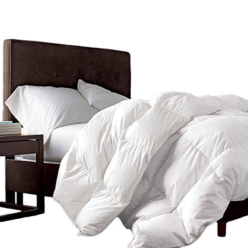 Luxurious King/California King Size Siberian Goose Down Comforter, 1200 Thread Count 100% Egyptian Cotton 750FP, 50oz, 1200TC, White Solid