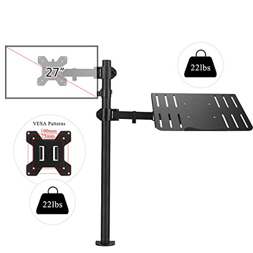 Suptek Full Motion Computer Monitor and Laptop Riser Desk Mount Stand, Height Adjustable (800mm), Fits 13-27'' Screen and up to 17'' Notebooks, VESA 75/100, up to 22lbs for Each (MD6832TP004) by suptek (Image #3)