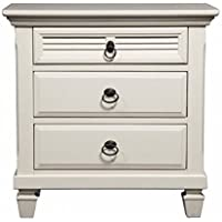 3-Drawer Nightstand in White