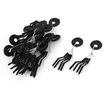 eDealMax Plástico anillo cilíndrico Pesca del flotador Bobber tapón 20 piezas Negro