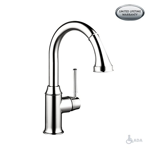 hansgrohe Talis C Premium 1-Handle 15-inch Tall Kitchen Faucet with Pull Down Sprayer Magnetic Docking Spray Head in Chrome, 04215000 - Hansgrohe Spray Faucet