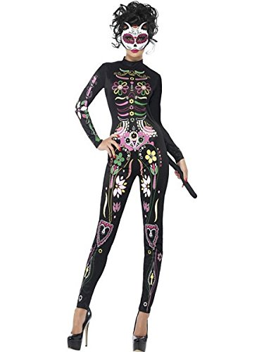 Smiffys Women's Sugar Skull Cat Costume, Printed Bodysuit, Day of the Dead, Halloween, Size 14-16, -