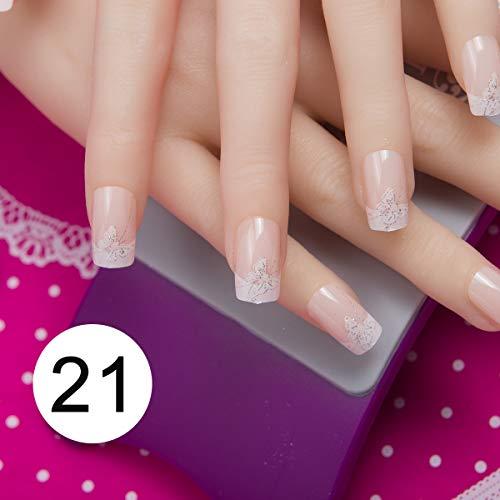 (MTEAFD 24 Pcs Nail Art Tips In 1 Box With Nail Adhesive Glue Tape Press On False Tips Full Cover Fake Nail Tip Faux nails 121)