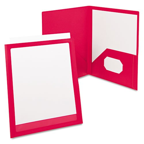 (Oxford ViewFolio Poly Portfolio with Framed Display Cover, Letter, Red ESS57443)