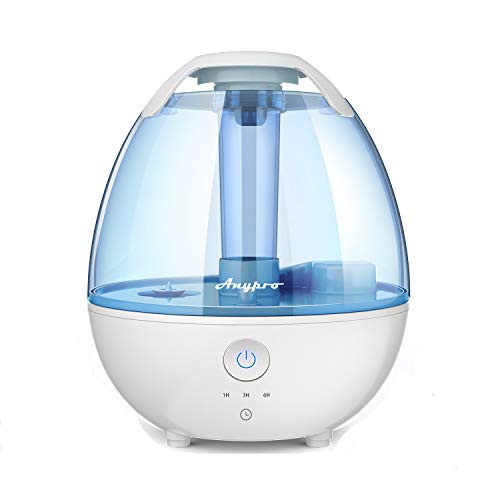 Anypro Cool Mist Humidifiers, 2 Liter Ultrasonic Humidifier w/Quiet, Timing, Waterless Auto-off and Night Light Function, Mist Humidifier with High Low Mist, for Babies/Bedroom/Home/Office