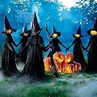 Visiting Light-Up Witches with Stakes-Set of 3,Waterproof Light-up Witches with Stakes-Cute and Funny,Great Gifts,Ideal for Home Outside Party Decorations. ((Lighting + HAT + Clothing) 3 Sets)