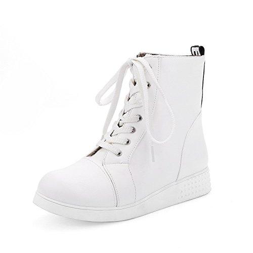 AgooLar Damen Niedriger Absatz Rein Rund Zehe Weiches Material Schnüren Stiefel Weiß