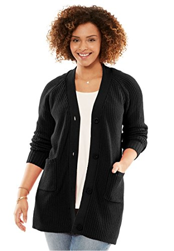 Women's Plus Size Long Sleeve Button-Front Cardigan - Sweater Cuff Button Cotton