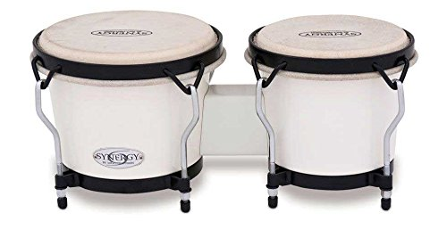 Toca Synergy Synthetic Bongo Drums - White by Toca