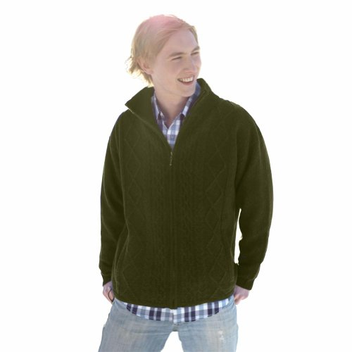 100% Pure New Irish Wool Mens Shetland Lined Zipper Aran Sweater by Carraig Donn by The Irish Store - Irish Gifts from Ireland