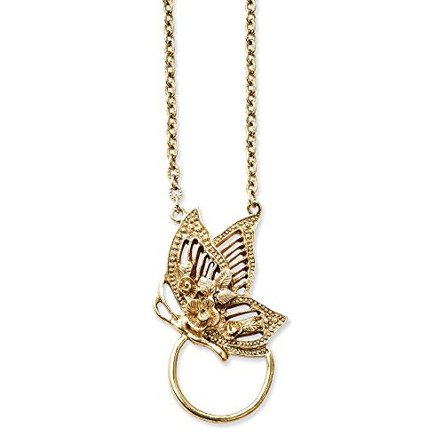 Jewelry : Gold-tone Butterfly Eye Glass Holder Necklace from JE