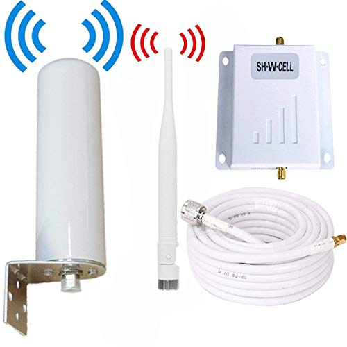 Cell Phone Signal Booster ATT T-Mobile 4G LTE Band12/17 700MHz FDD AT&T Cell Signal Booster Mobile Phone Signal Booster Amplifier Signal Booster Repeater SHWCELL with Whip+Omni Antennas Kits for Home (Wireless Cell Phone Signal Booster For Home)