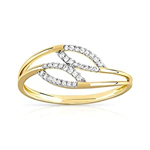 Trillion Designs 1/8 CT Round Cut Genuine Diamond Promise Ring 10K Yellow Gold (8.5)