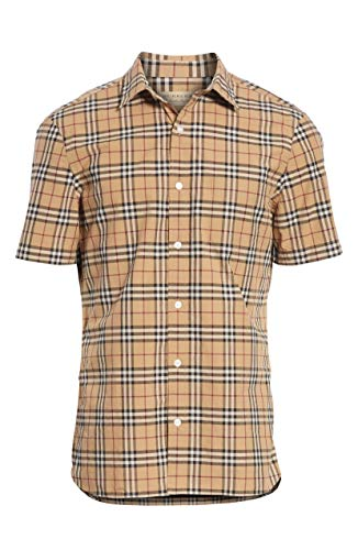 a9705b35c94 BURBERRY Men's Alexander Check Print S/S Cotton Sport Shirt in Camel ...