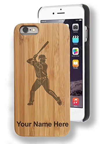 Bamboo Case for iPhone 6/6s PLUS - Baseball Player 2 - Personalized Engraving included (Batting Plus)