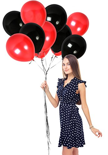 Ruby Red Black Balloons 12 Inch 100 Pack of Latex for Casino Bachelor Birthday Wedding Bouquet Graduation Party Thanksgiving or Bridal Shower Decorations