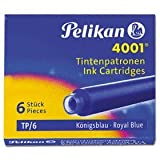 Pelikan 4001 TP/6 Ink Cartridges for Fountain Pens, Royal Blue, 0.8ml, 6 Pack