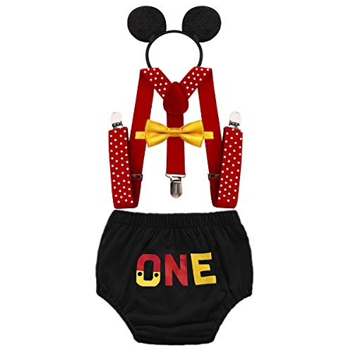 HIHCBF Baby Boys Mickey Outfits 1st Birthday Cake Smash Photo Shoot Costume Bloomers Suspenders Bow Tie Headband 4pcs Set ()