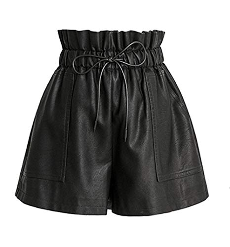 SCHHJZPJ High Waisted Wide Leg Black Faux Leather Shorts for Women (Black, S) (Leather Women For Shorts)