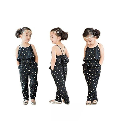 Infant Baby Girl Lovely Floral Love Heart Hammock Belt Jumpsuits Bodysuit Outfit (2T, Black)