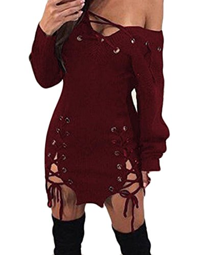 Bandage Comfy Red Sexy Elegant Mini Dress Cocktail Solid Women Wine Clubwear OfqY1