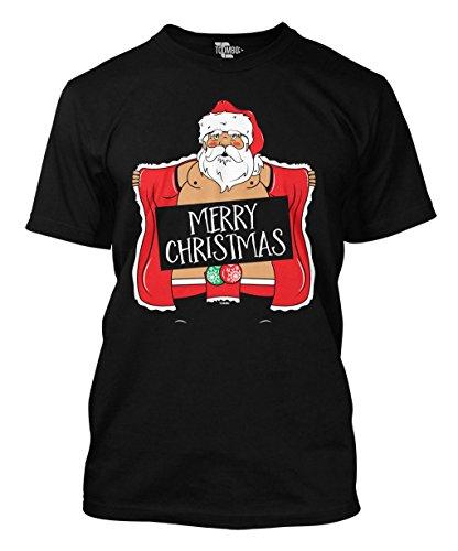 T-shirt Christmas Santa (Merry Christmas - Naughty Santa - Ugly Christmas Men's T-shirt (XL,)