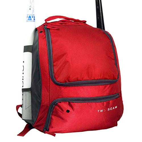Two Seam Baseball Bag - Bat Softball Bag | Sport Gear Backpack for Youth Adult and Kids | Multiple Compartments for Bats, Equipment and Cleats