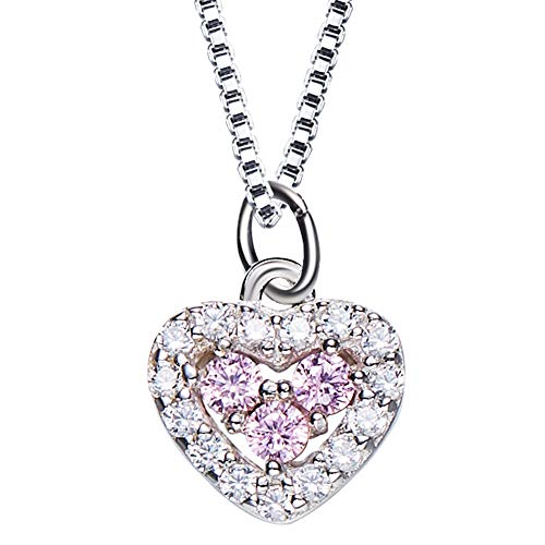 Uiipx Necklaces Love Heart Pendant Necklace with 925 Sterling Silver Cubic Zirconia, Gifts for Women,2pcs