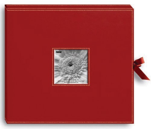 (Sewn Leatherette D-Ring Scrapbook Box 13X14.5-Red by Pioneer Photo Albums)