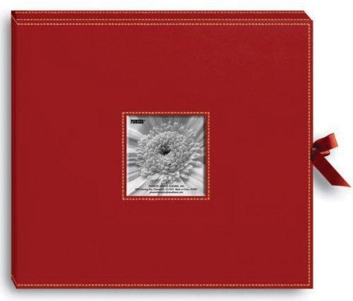縫製レザーレットDリングスクラップブックボックス13 x 14.5-red by Pioneerフォトアルバム   B0149I3VYK
