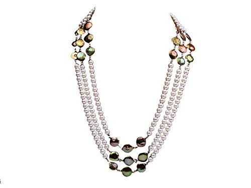 - JYX Pearl Necklace Triple-Strand Pearls White and Green Freshwater Pearl Necklace for Women 20-23inch