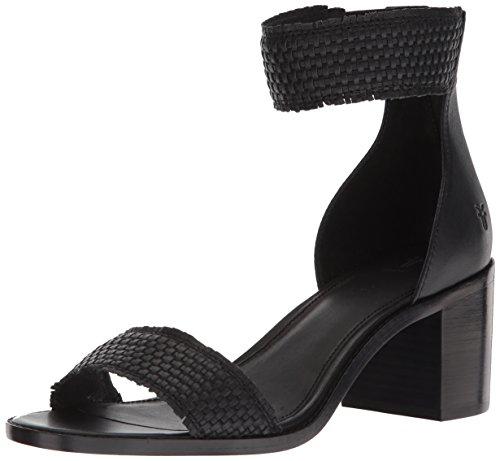 FRYE Women's Bianca Woven Back Zip Heeled Sandal, Black, 7.5 M US by FRYE (Image #1)