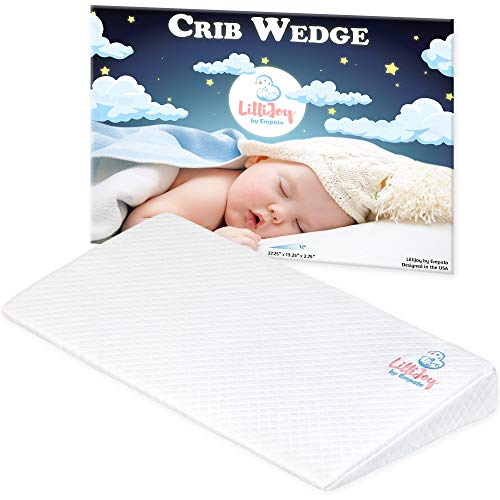 LilliJoy Premium Universal Crib Wedge Pillow for Baby and Infant | 12˚ Incline for Baby Crib | Ideal for Newborn & Baby with Acid Reflux or Congestion | 100% Cotton Cover for Better Comfort and Sleep