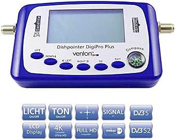 Venton Medidor de satélite digital Digi Pro+ I con pantalla LCD, brújula y sonido de señalización, localizador de satélite con detección de satélite ...