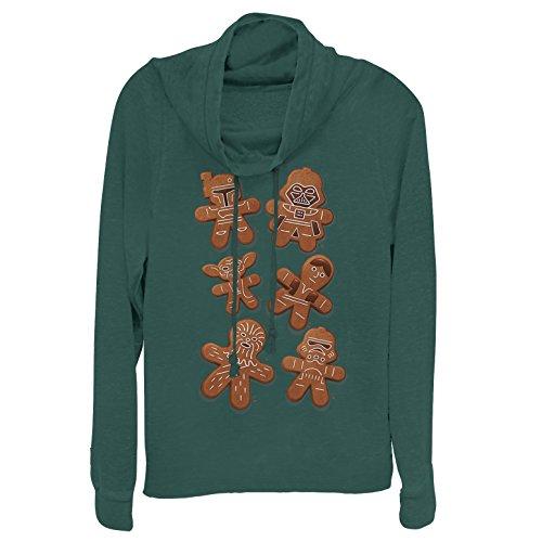 Fifth Sun Star Wars Juniors' Christmas Gingerbread Cookies Dark Green Cowl Neck Sweatshirt