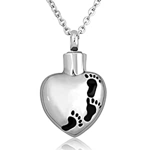 cooljewelry cute baby footprints heart cremation necklace. Black Bedroom Furniture Sets. Home Design Ideas