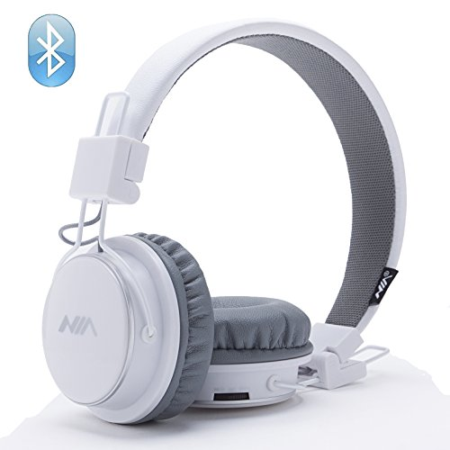 Wireless Bluetooth Headphones, Over Ear Foldable, TF card play, FM radio, Audio Input with Microphone for Iphone Android and Good Choices for Gift, On Ear White