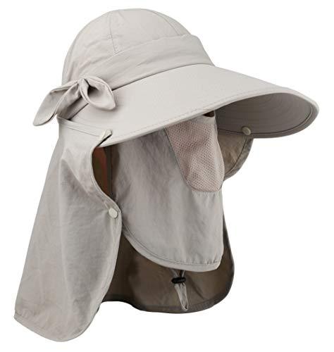 Lenikis Women's UPF50+ Sun Visor Foldable Wide Brimmed UV Protection Hat with Detachable Flaps Khaki