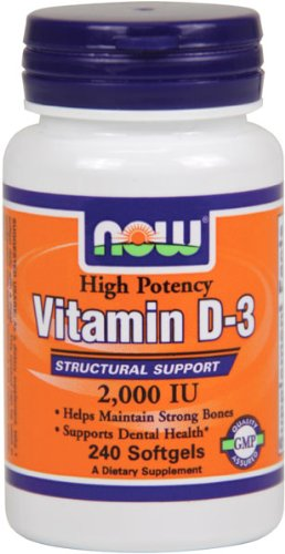 NOW Foods Vitamin D-3, 2000 IU, 240 Softgels