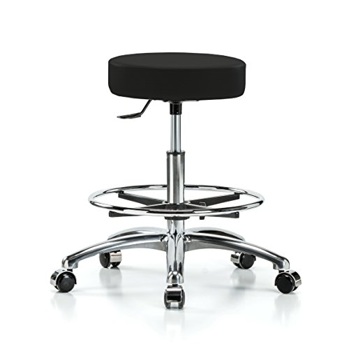 Perch Single Lever Adjustable Rolling Backless Swivel Stool in Chrome with Footring for Office Salon Home Garage or Work Shop 20.5'' - 28'' (Hard Floor Casters/Black Fabric) by Perch