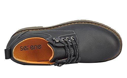 Serene Heren Cashion Ronde Neus Lace-up Lederen Enkellaars Oxfords Outdoor Schoenen (7.5 B (m) Ons, Zwart)