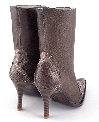 Zapatos De Cuero De Lujo De Las Mujeres Bota Zapato De Arranque De Tacón Alto Rustic Brown