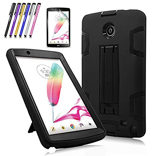 Windrew Heavy Duty rugged impact Shock-Proof Case with Build In Kickstand Protective Case For LG G Pad F 8.0/LG GPad II 2 8.0 Inch Tablet + Screen Protector Film and stylus pen (Black/Black)