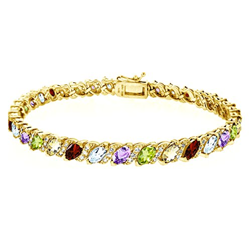 Gold Flashed Sterling Silver Multi Gemstone Marquise-Cut Tennis Bracelet with White Topaz Accents